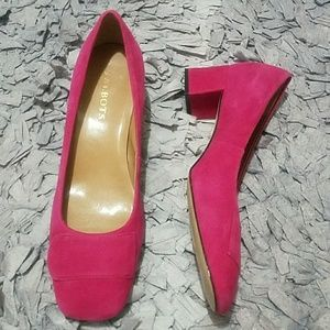 Mod Party Pink Suede Square Toe Pumps Block Heel